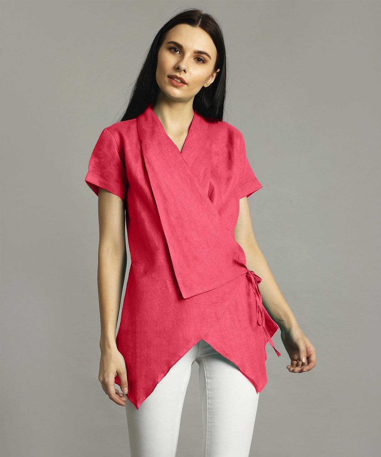 Uptownie Plus Hot Pink Linen Wrap Shrug. FLAT 200 OFF