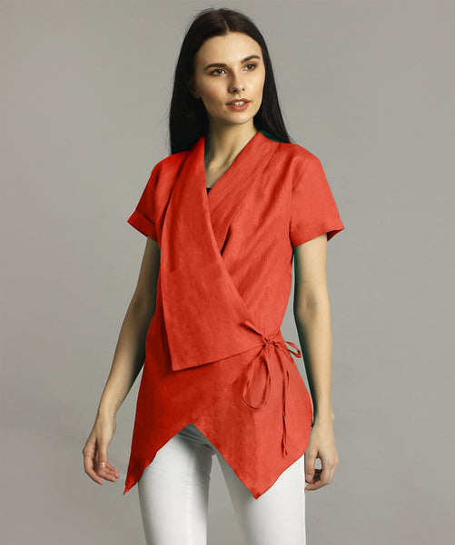 Coral Red Linen Wrap Shrug