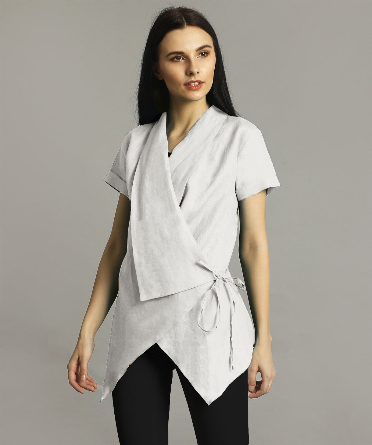Uptownie Plus White Linen Wrap Shrug. FLAT 200 OFF