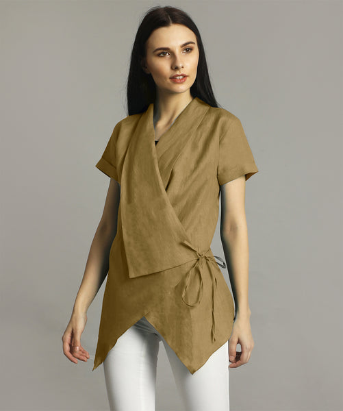 Yellow Ochre Linen Wrap Shrug