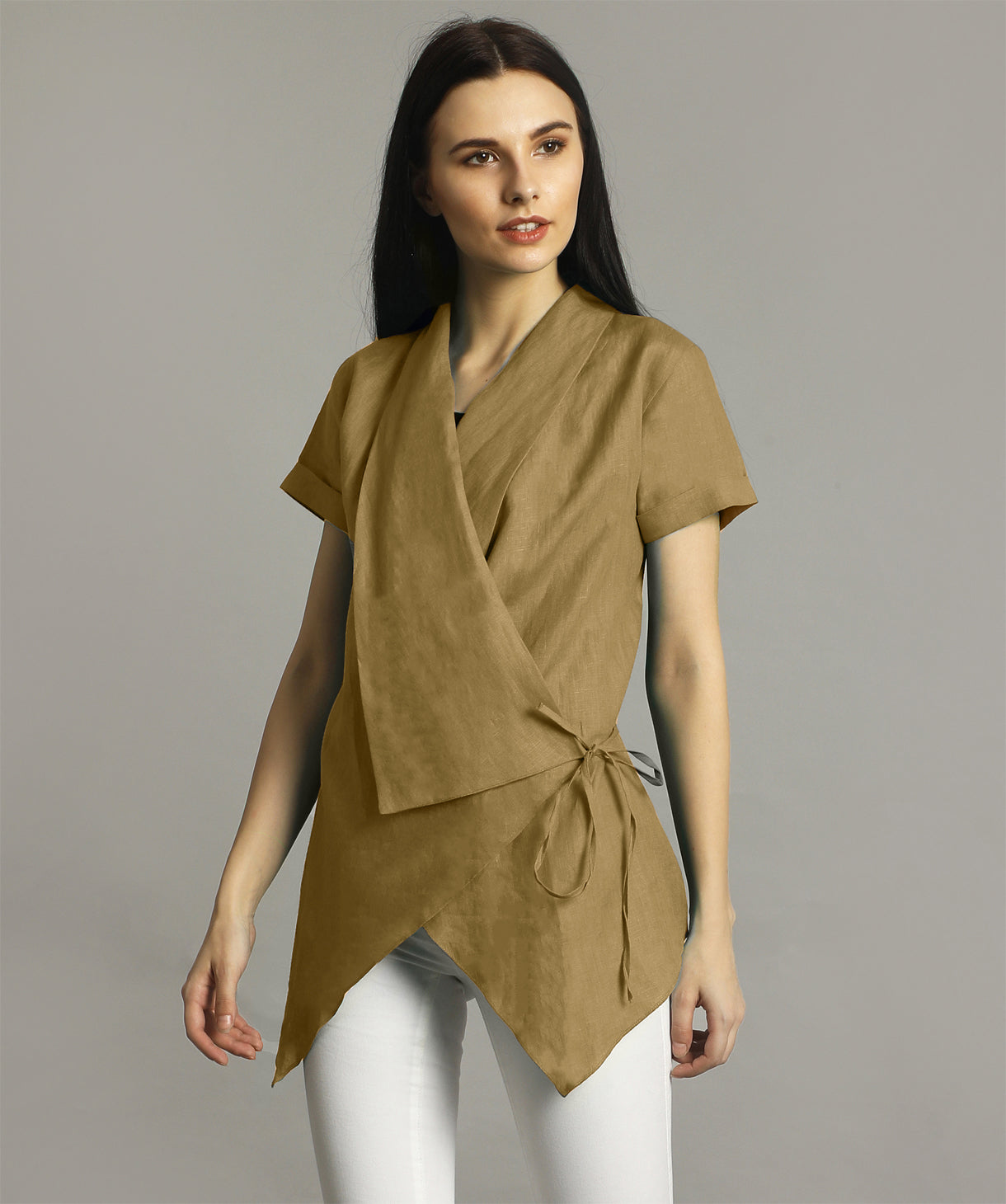 Uptownie Plus Yellow Ochre Linen Wrap Shrug 1 clearance sale