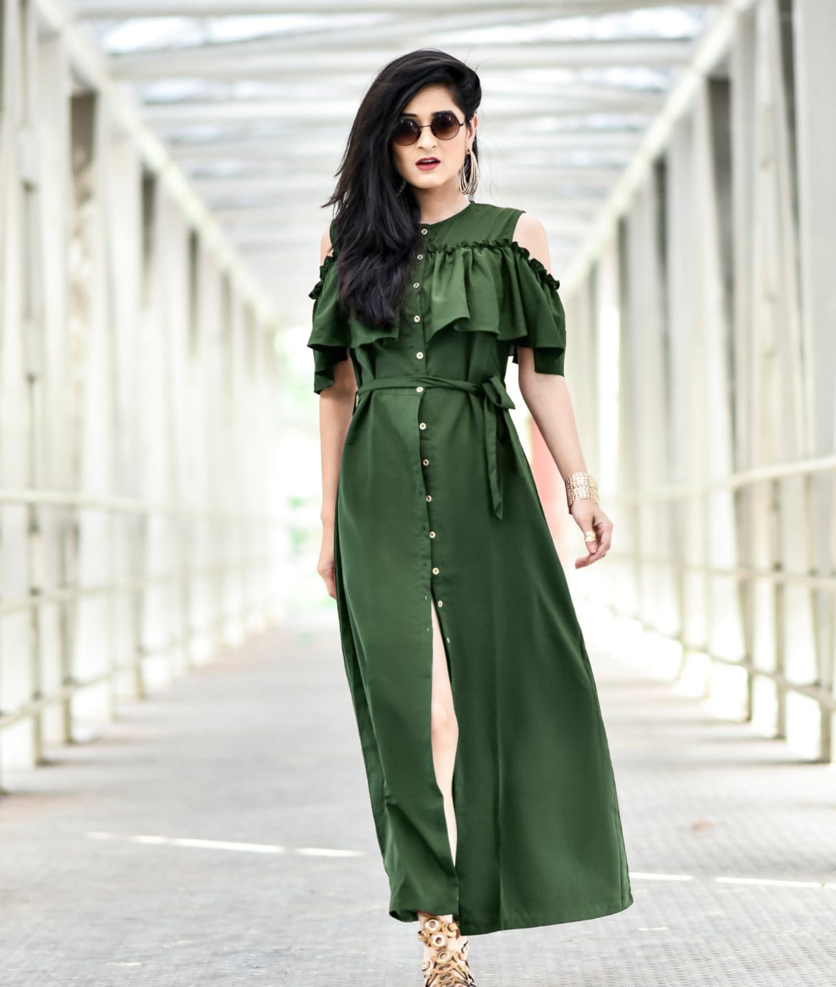 Ruffled Buttoned Cold Shoulder Green Maxi Maternity Dress