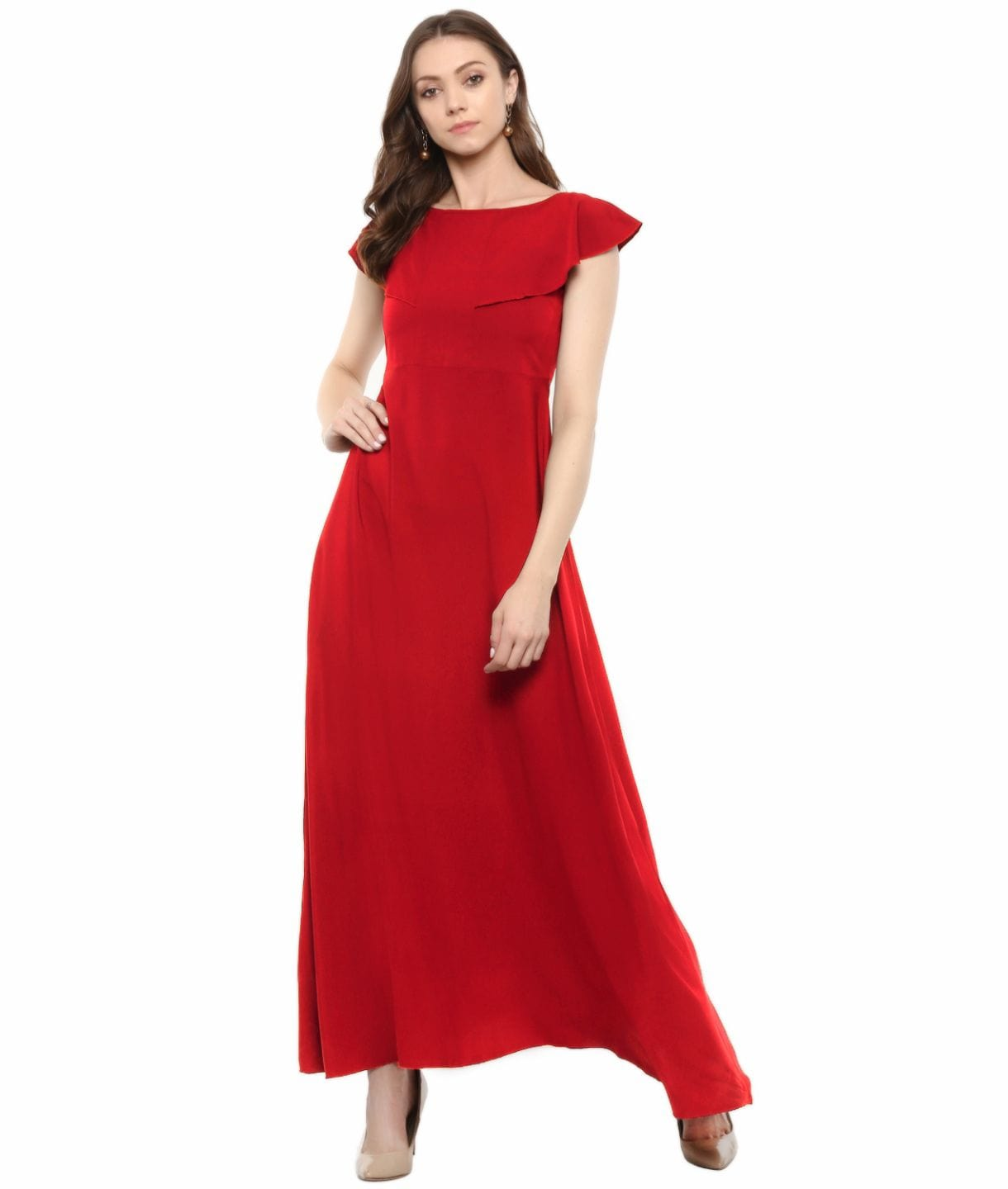 Red Solid Crepe Ruffled Maternity Dress/Gown