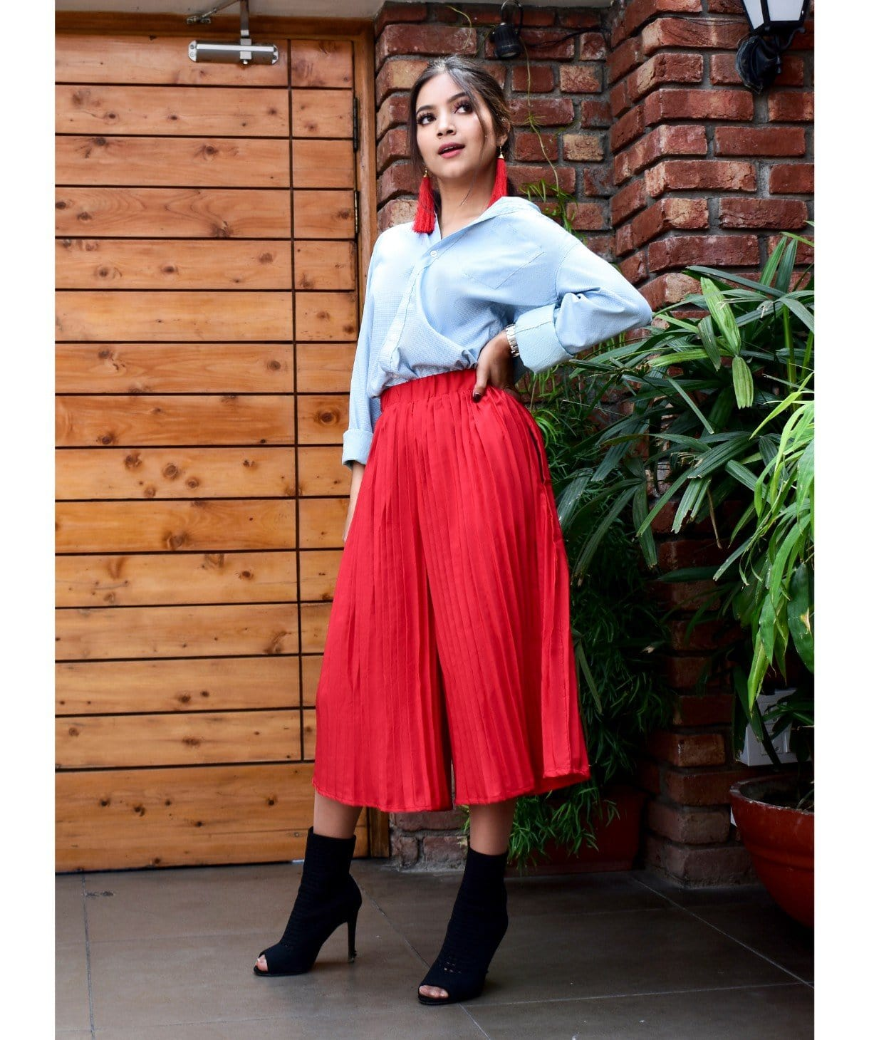 Bright Red Pleated Adjustable Culottes