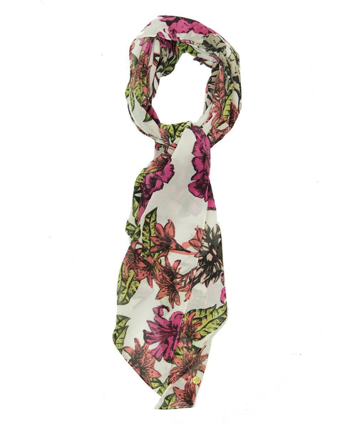White Scarf with Pink flowers