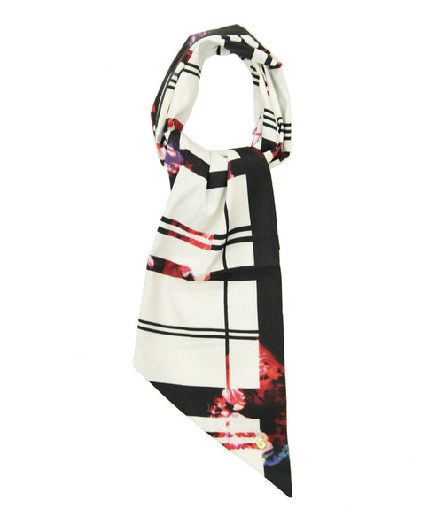 Gemetric black and white scarf with red floral detailing