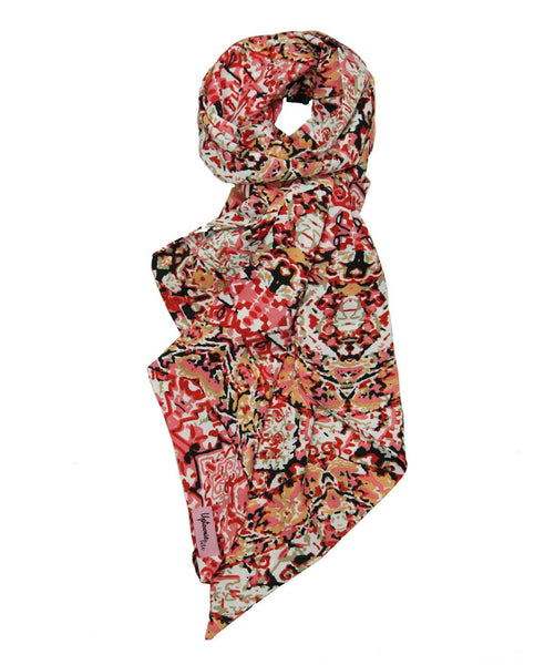 White scarf with many red flowers