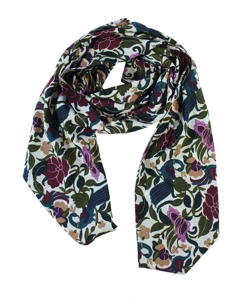 White scarf with maroon floral print leaves and blue print