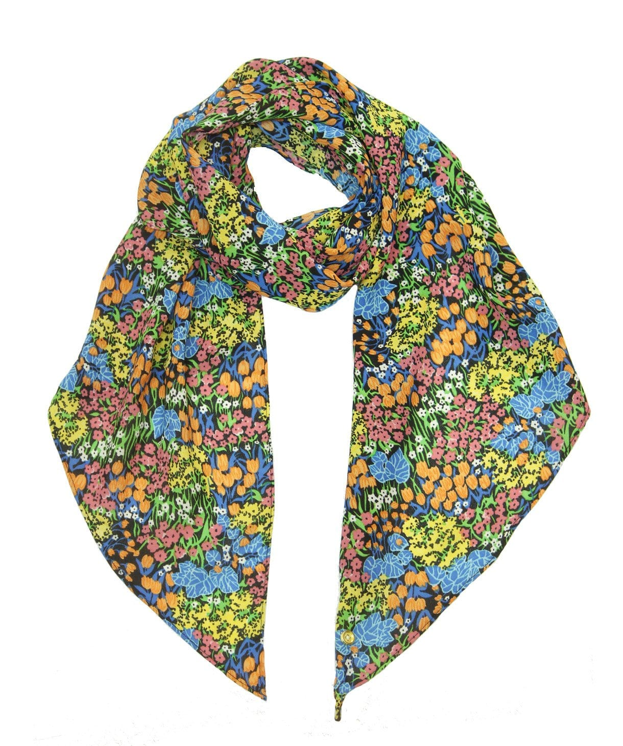 Blue scarf with lots of small flowers print