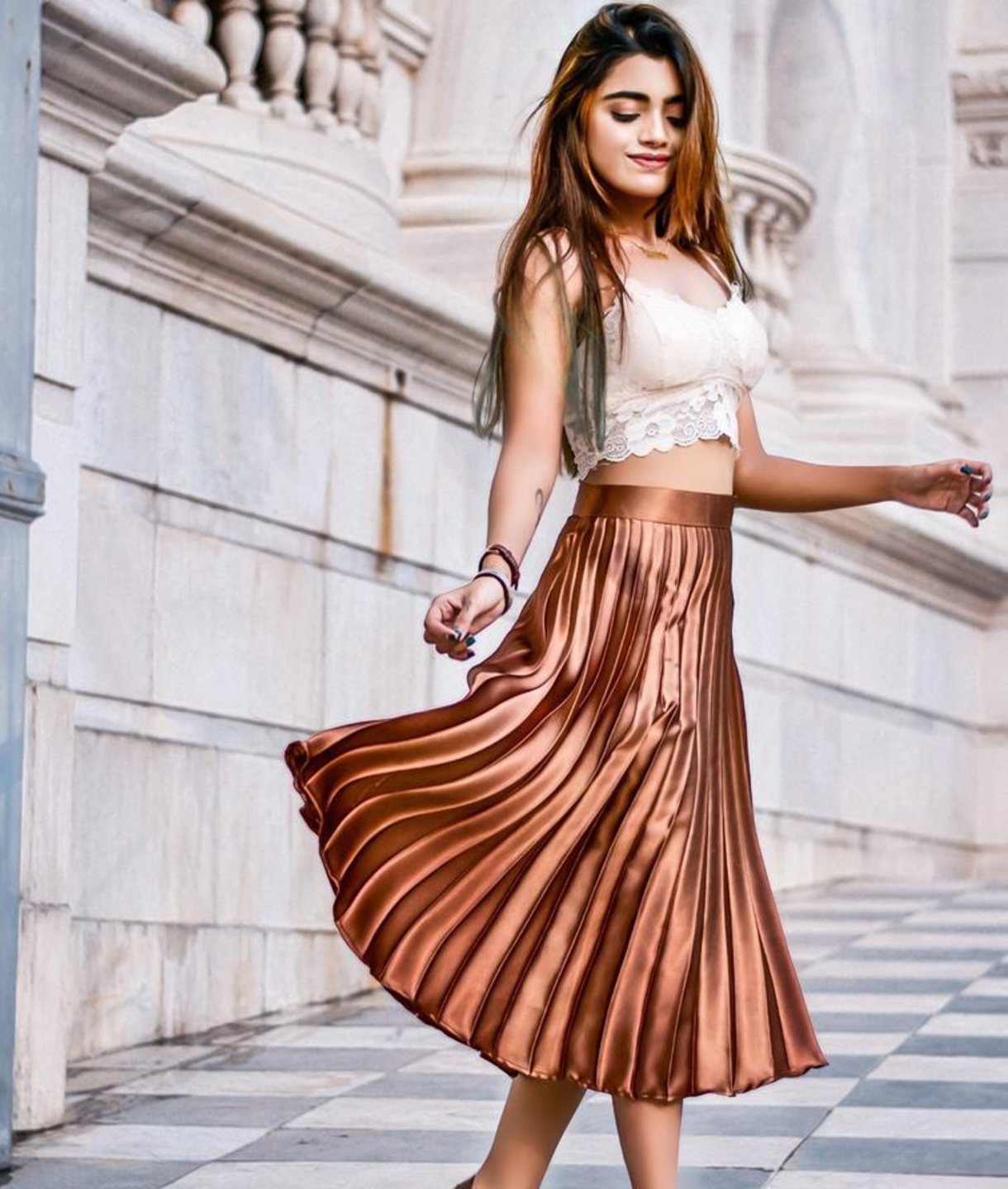 Uptownie Plus Brown Pleated Satin Skirt