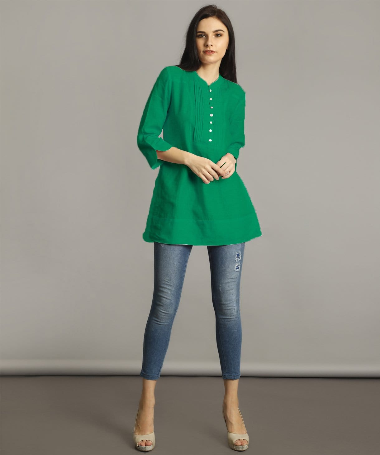 Uptownie Plus Green Mandarin Pleated Neck Tunic 1 summer sale