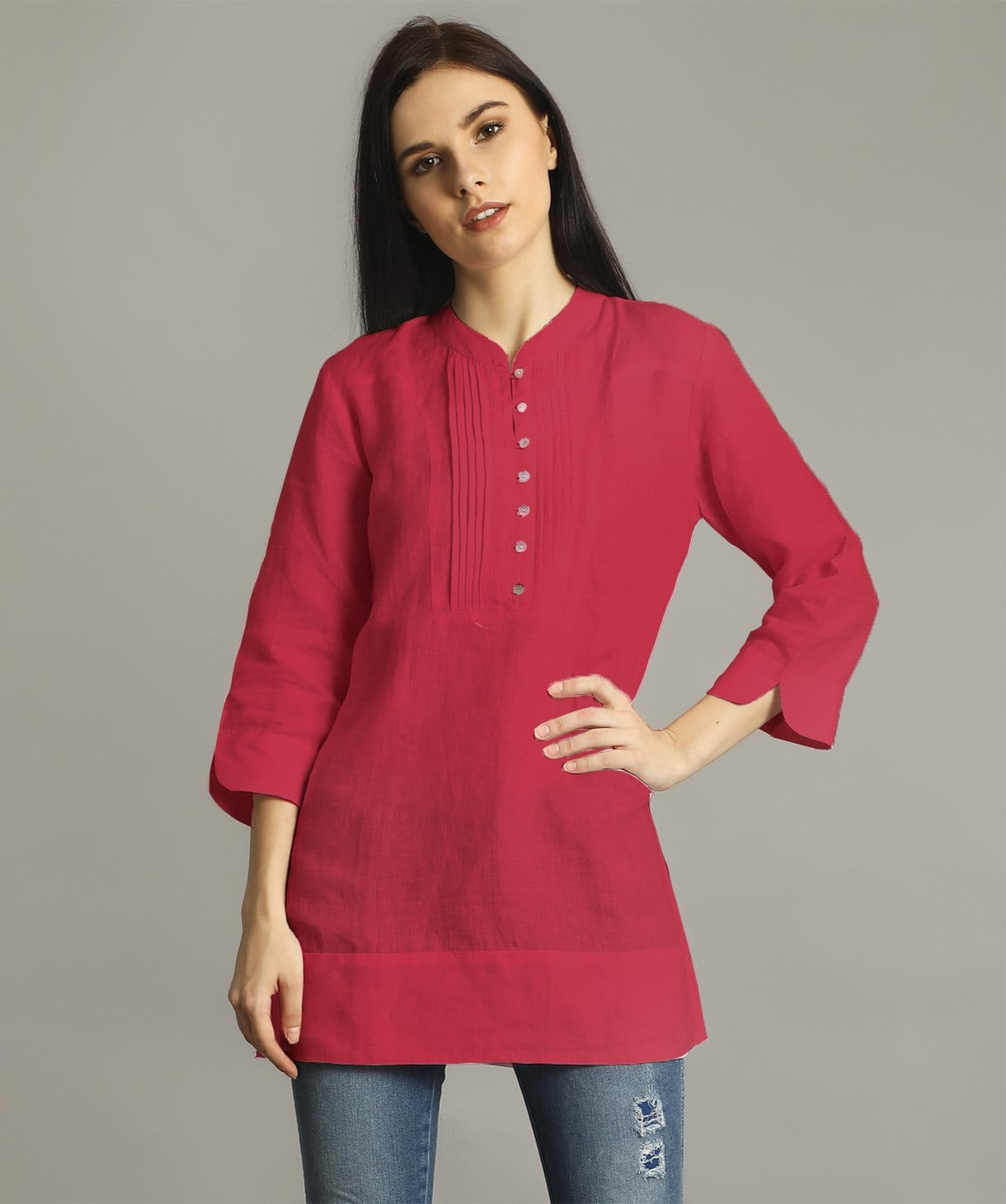 Uptownie Plus  Pink Mandarin Pleated Neck Tunic 1 clearance sale