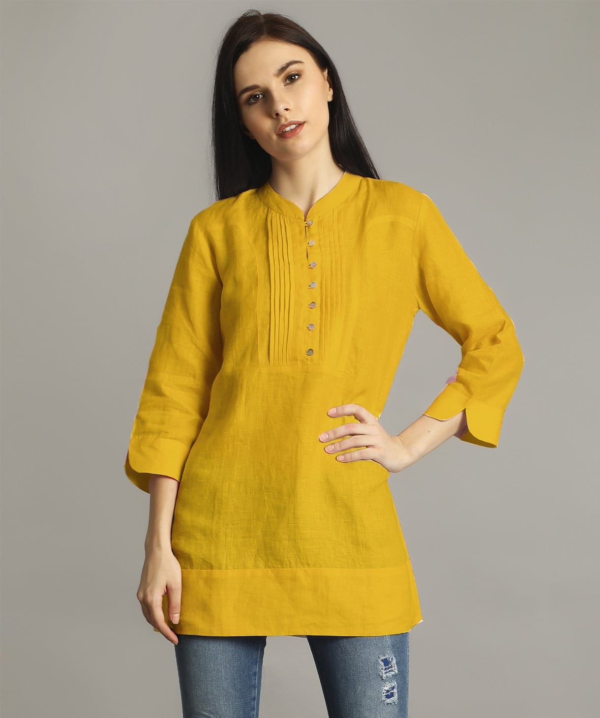 Uptownie Plus  Mustard Mandarin Pleated Neck Tunic 1 trendsale