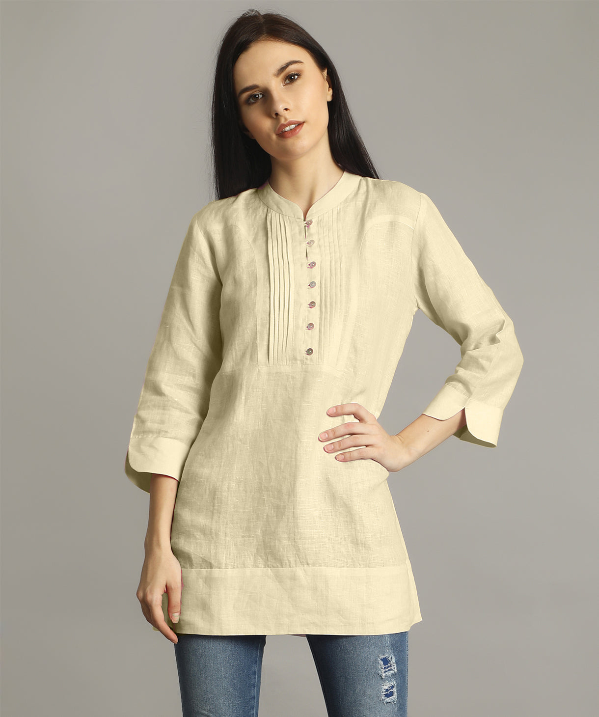 Uptownie Plus Off White Mandarin Pleated Neck Tunic. FLAT 200 OFF