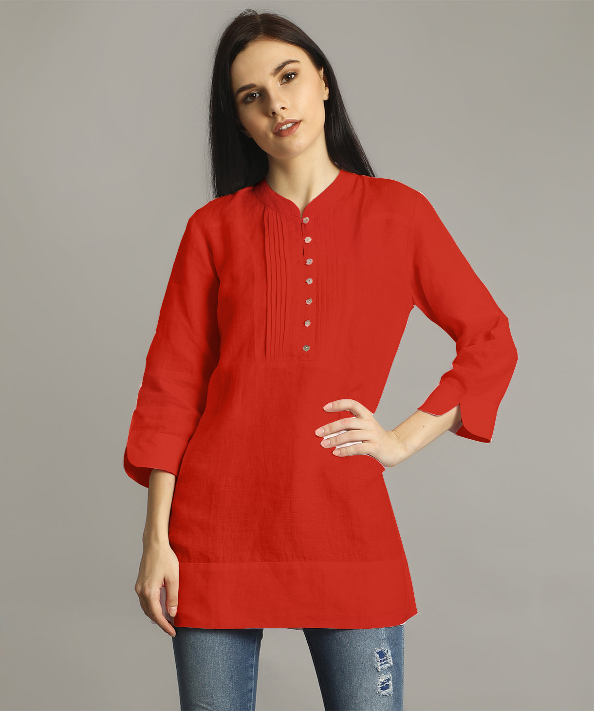 Red Mandarin Pleated Neck Tunic
