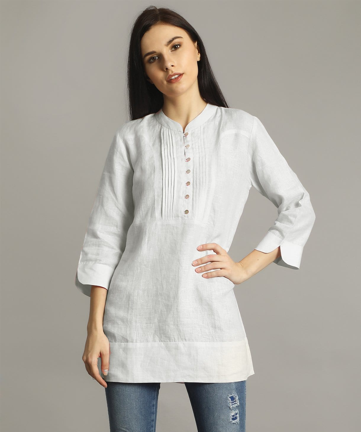 White Mandarin Pleated Neck Tunic