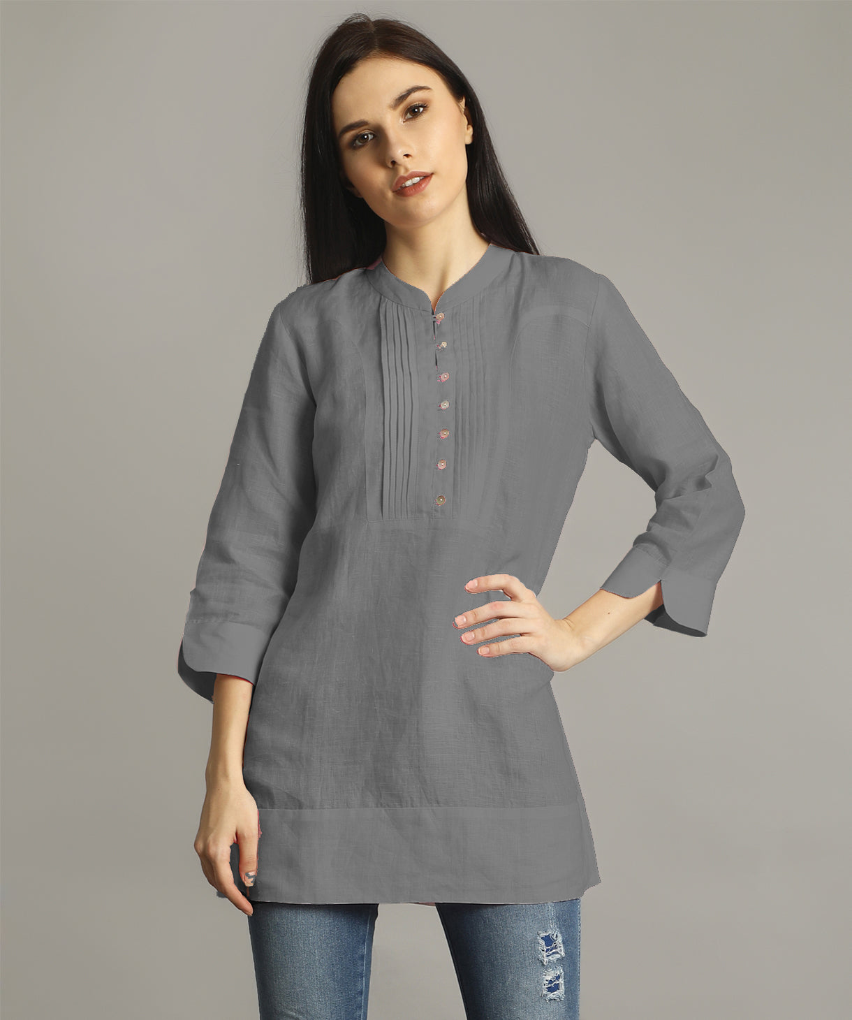 Grey Mandarin Pleated Neck Tunic