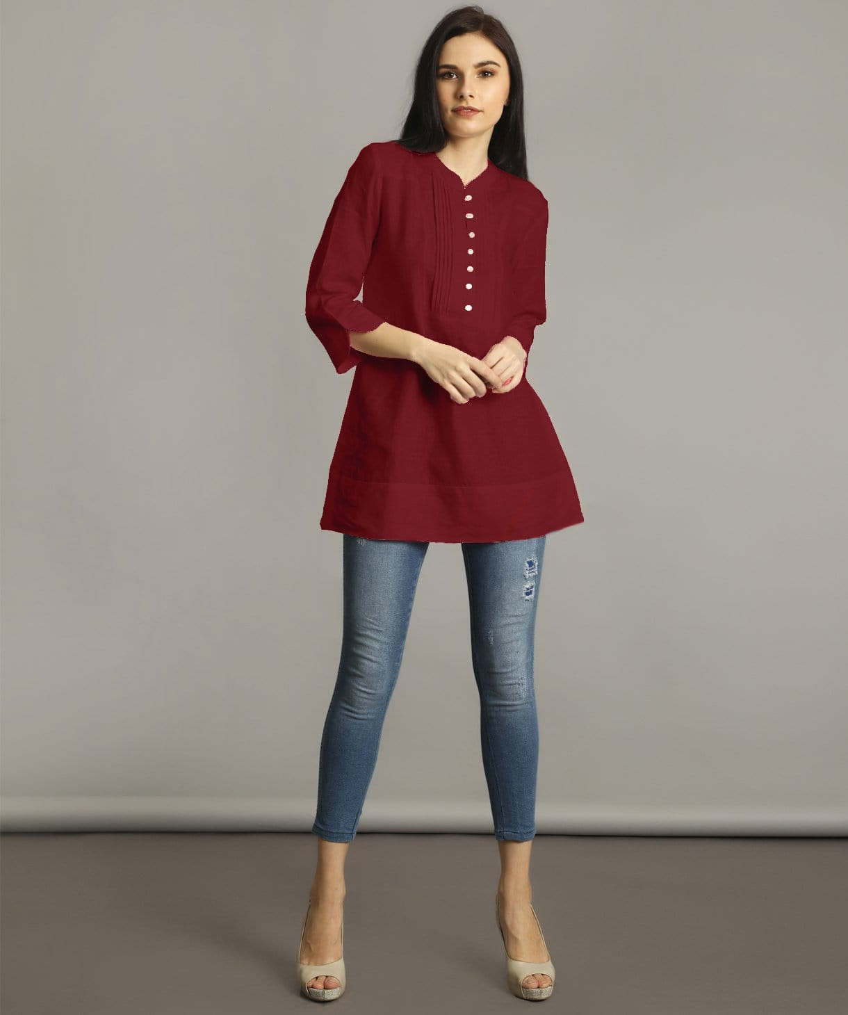 Maroon Mandarin Pleated Neck Tunic