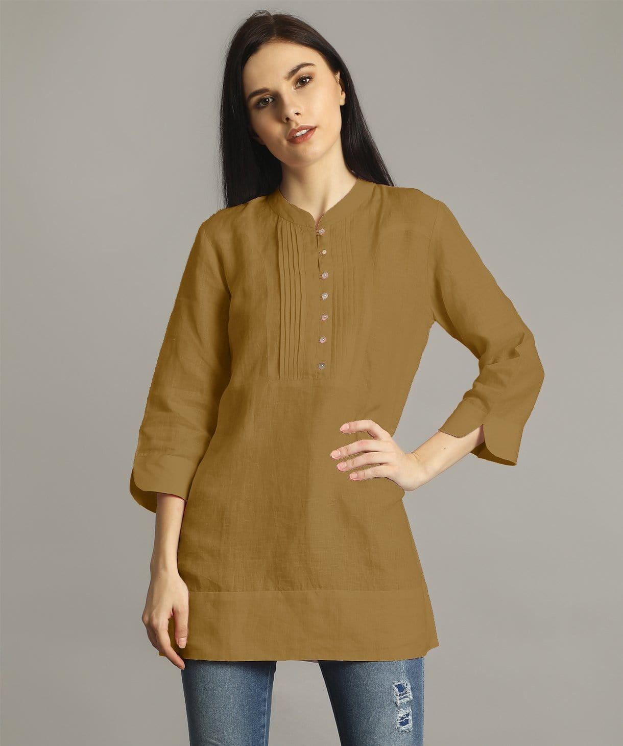 Yellow Ochre Mandarin Pleated Neck Tunic