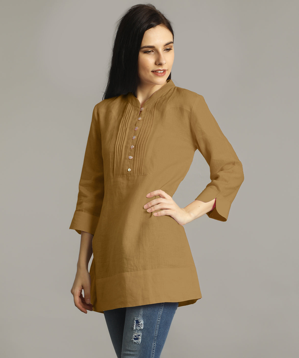 Uptownie Plus Yellow Ochre Mandarin Pleated Neck Tunic. FLAT 200 OFF
