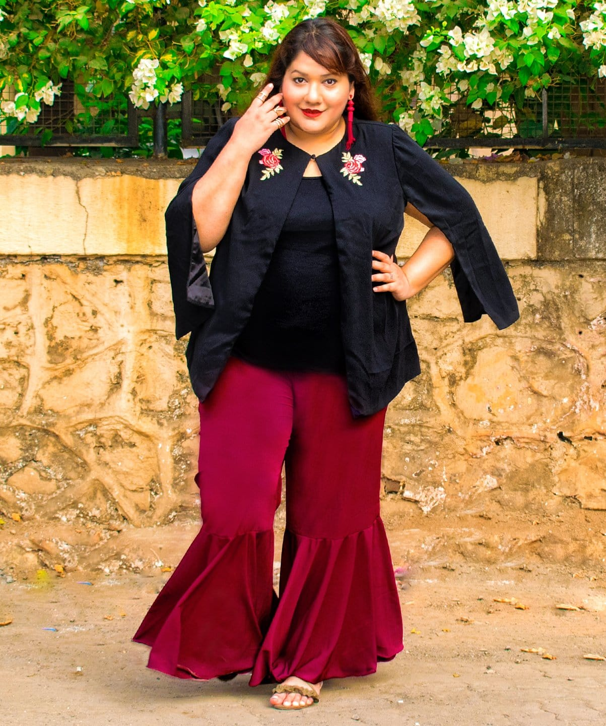 Uptownie Plus Solid Maroon Flared Adjustable Pants 1 trendsale