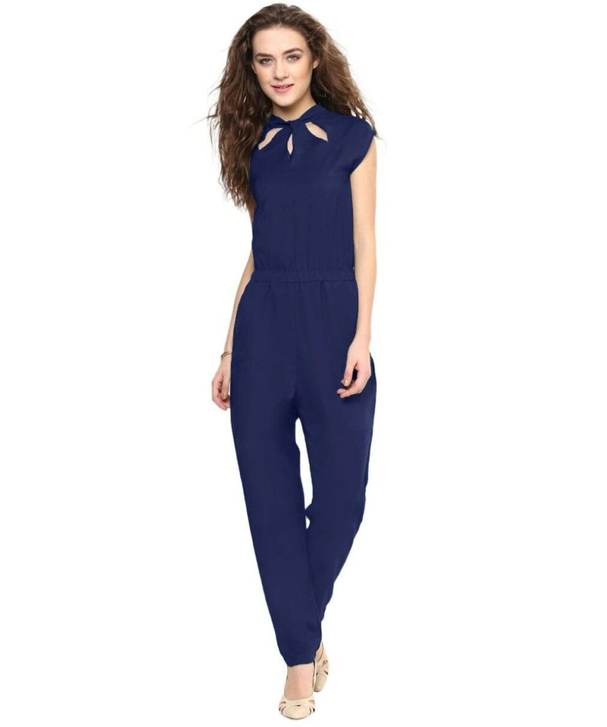Navy Neck Cut-out Jumpsuit - Uptownie