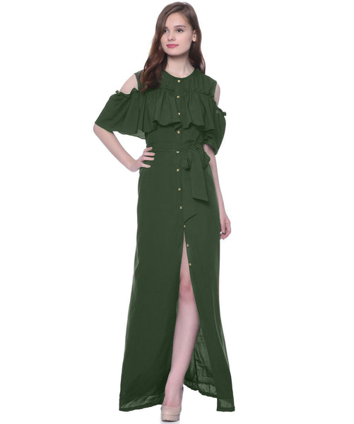 Ruffled Buttoned Cold Shoulder Green Maxi Dress - Uptownie