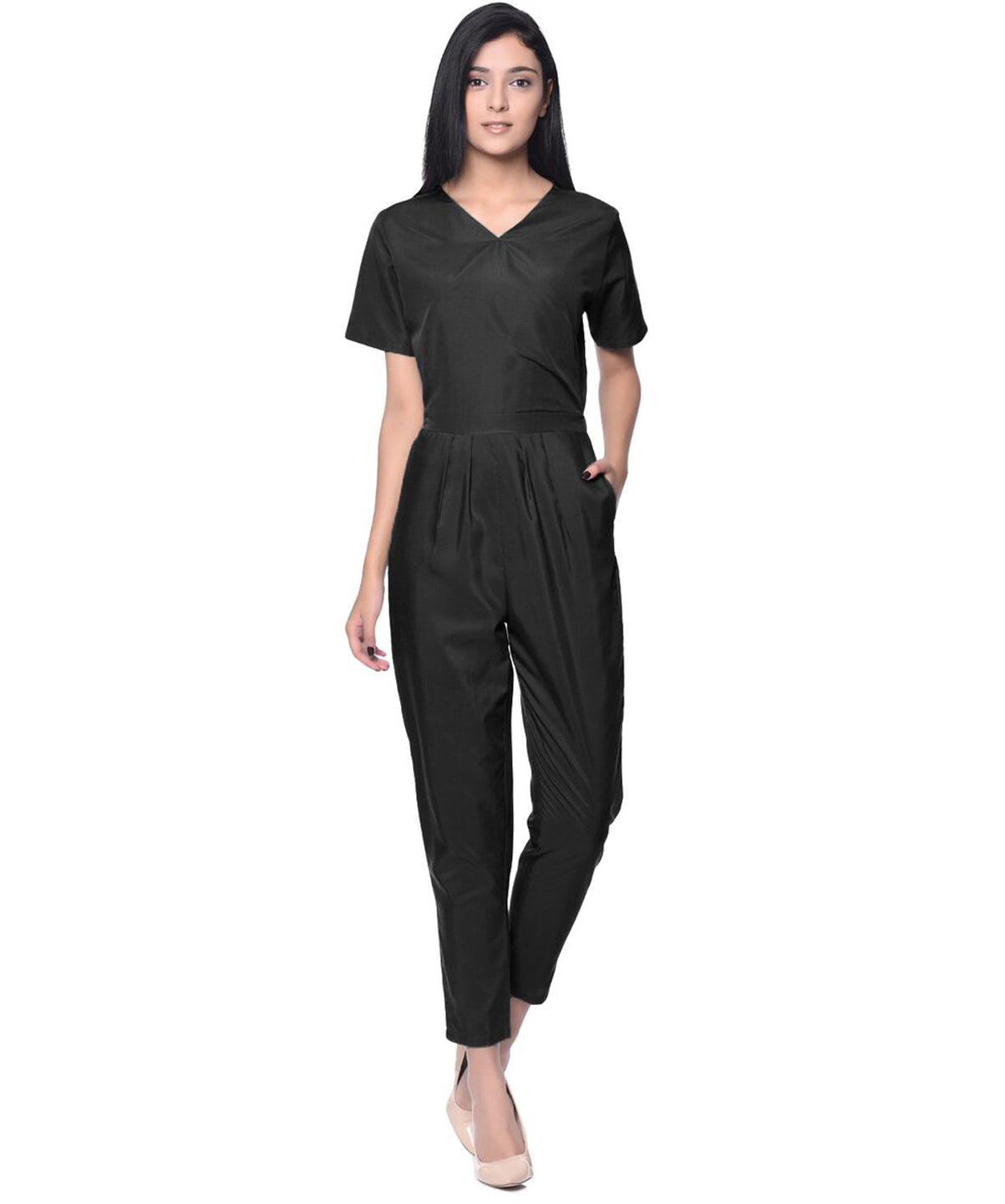 Black  Wrap Neck Jumpsuit - Uptownie