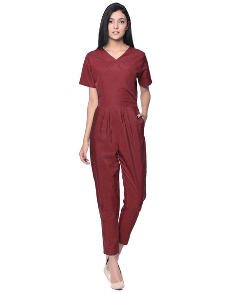 Maroon Wrap Neck Jumpsuit - Uptownie