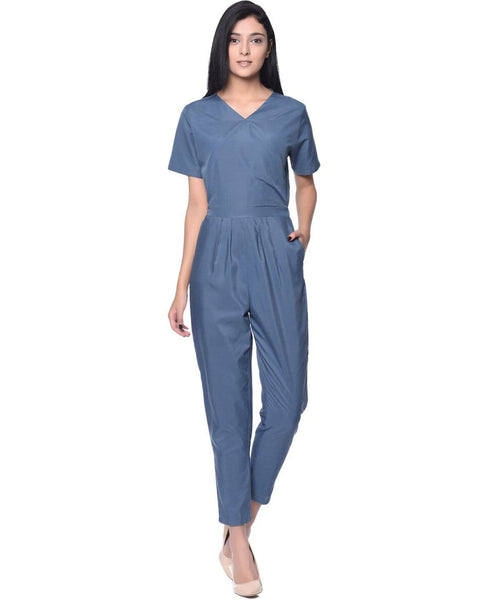 Grey Wrap Neck Jumpsuit - Uptownie