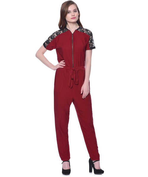 Maroon Lace Shoulder Jumpsuit - Uptownie