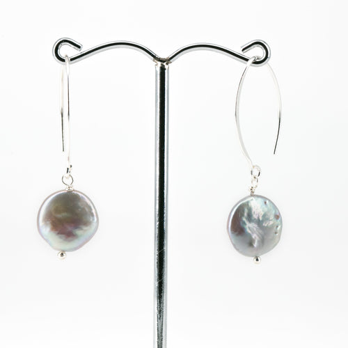 Coin Pearl Hoop Drop Earrings