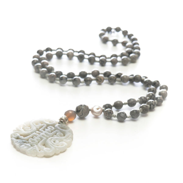 Most Happy Jade Grey Stone Long Necklace | Stones that Rock
