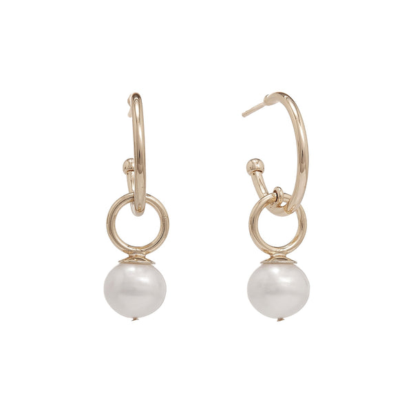 Carly Golden Pearl Drop Earrings | Stones that Rock