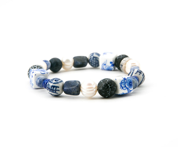 China Blue Ceramic, Lapis & Pearl Elastic Bracelet | Stones that Rock