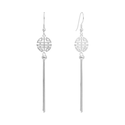 Silver Double Happiness Tassel Earrings | Stones that Rock