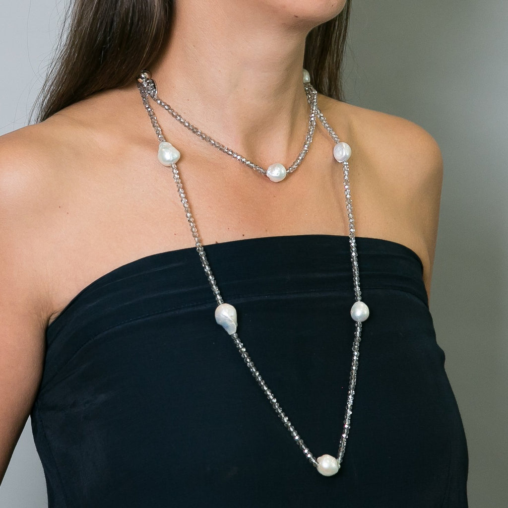 Evie Baroque Pearl & Crystal Long Necklace | Stones that Rock
