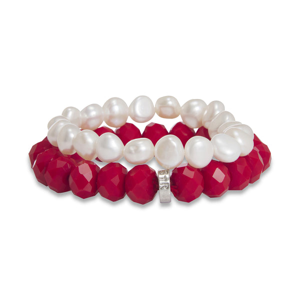 Harley Pearl and Crystal Two Piece Bracelet Set | Stones that Rock