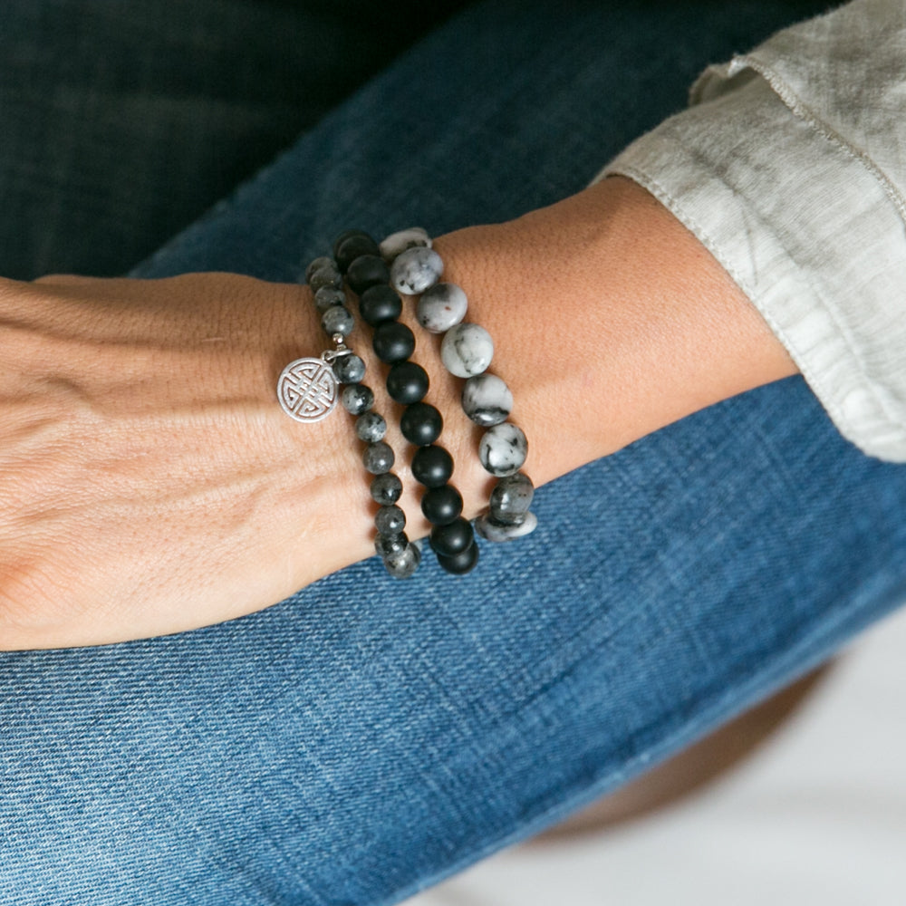 Hattie Black Three Piece Stone Bracelet Set | Stones that Rock