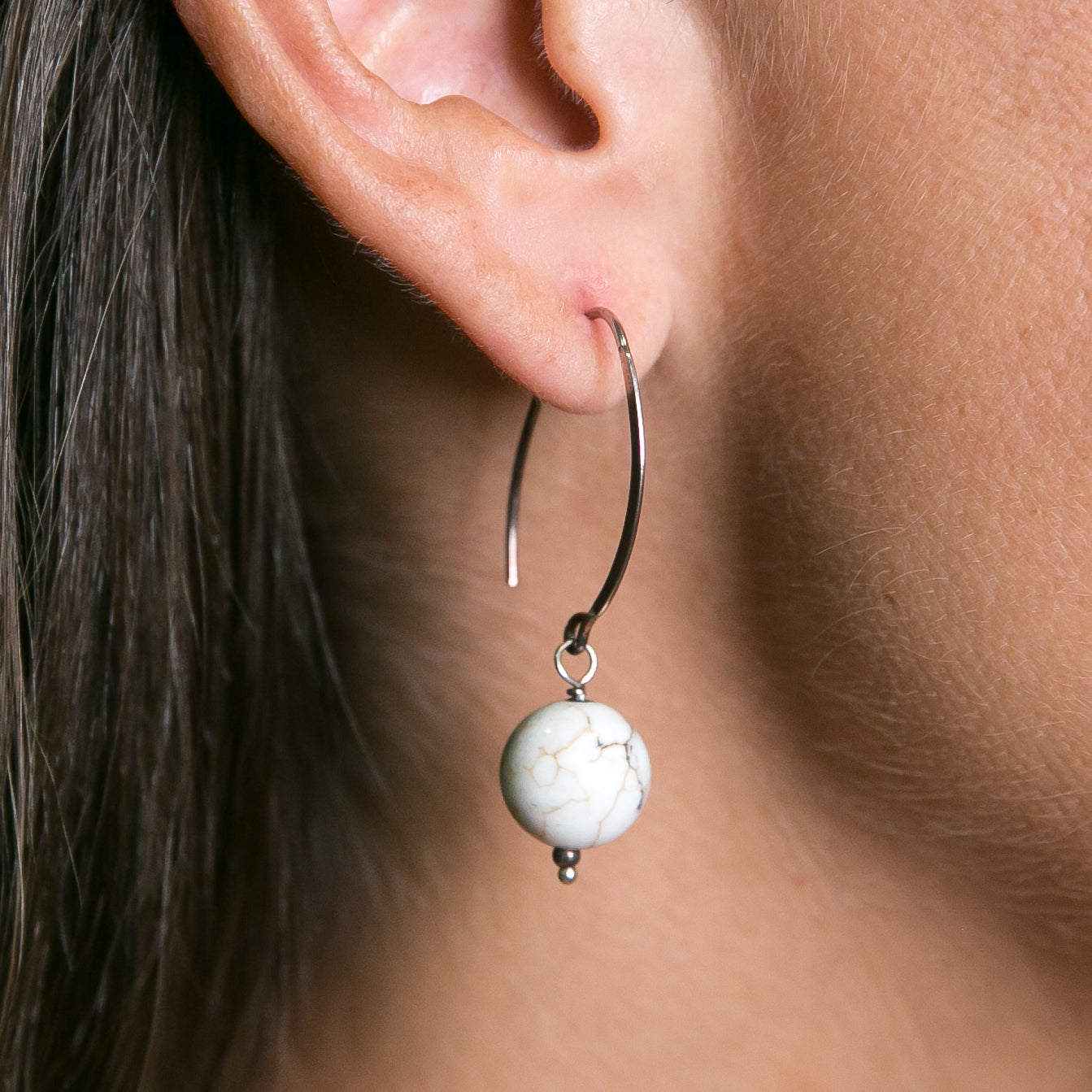 Howlite Hoop Drop Earrings