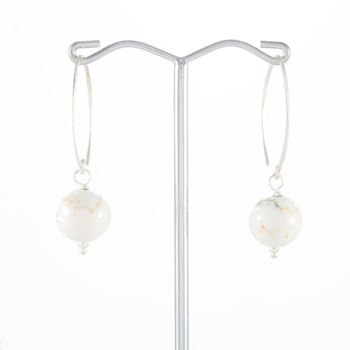 Howlite Hoop Drop Earrings | Stones That Rock