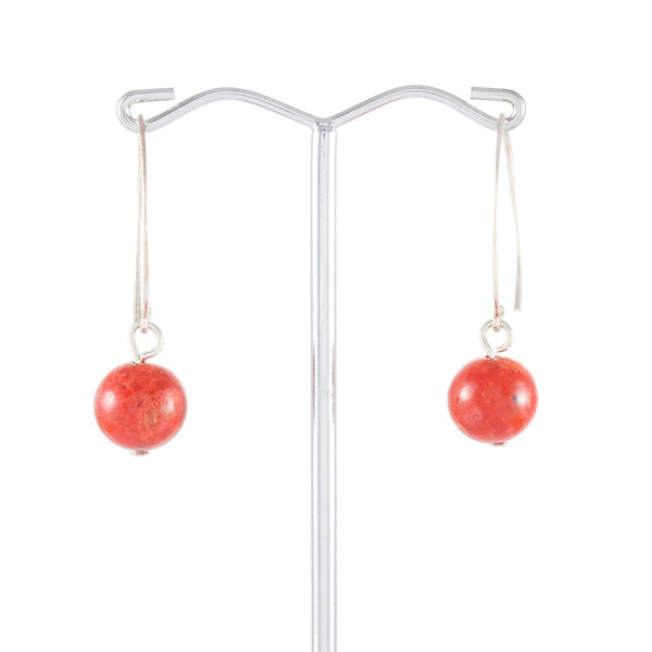 Red Coral Hoop Drop Earrings | Stones that Rock