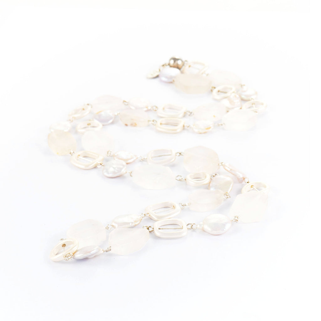 Jenny Pearl White Stone Long Necklace | Stones that Rock