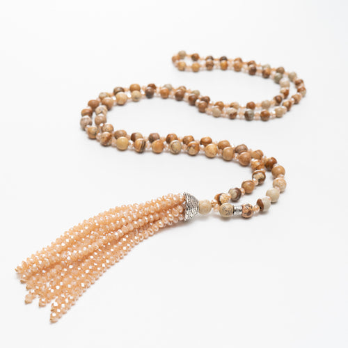 Jan Jasper Stone & Crystal Tassel Necklace | Stones that Rock