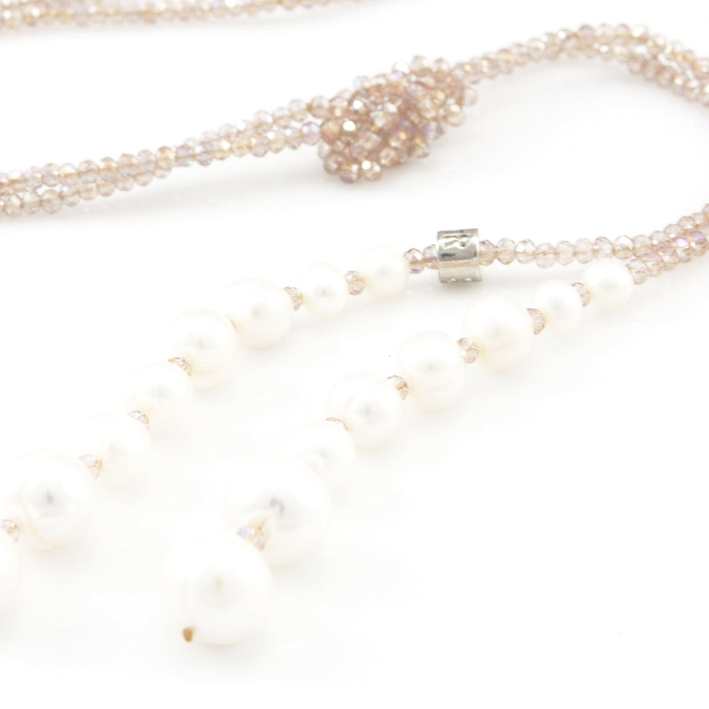 Millie Pearl & Crystal Lariat | Stones that Rock