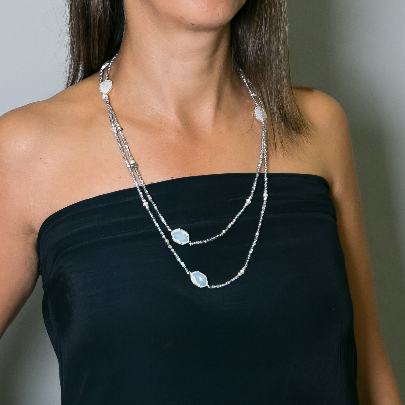 Lila Crystal, Pearl & Stone Long Loop Necklace | Stones that Rock