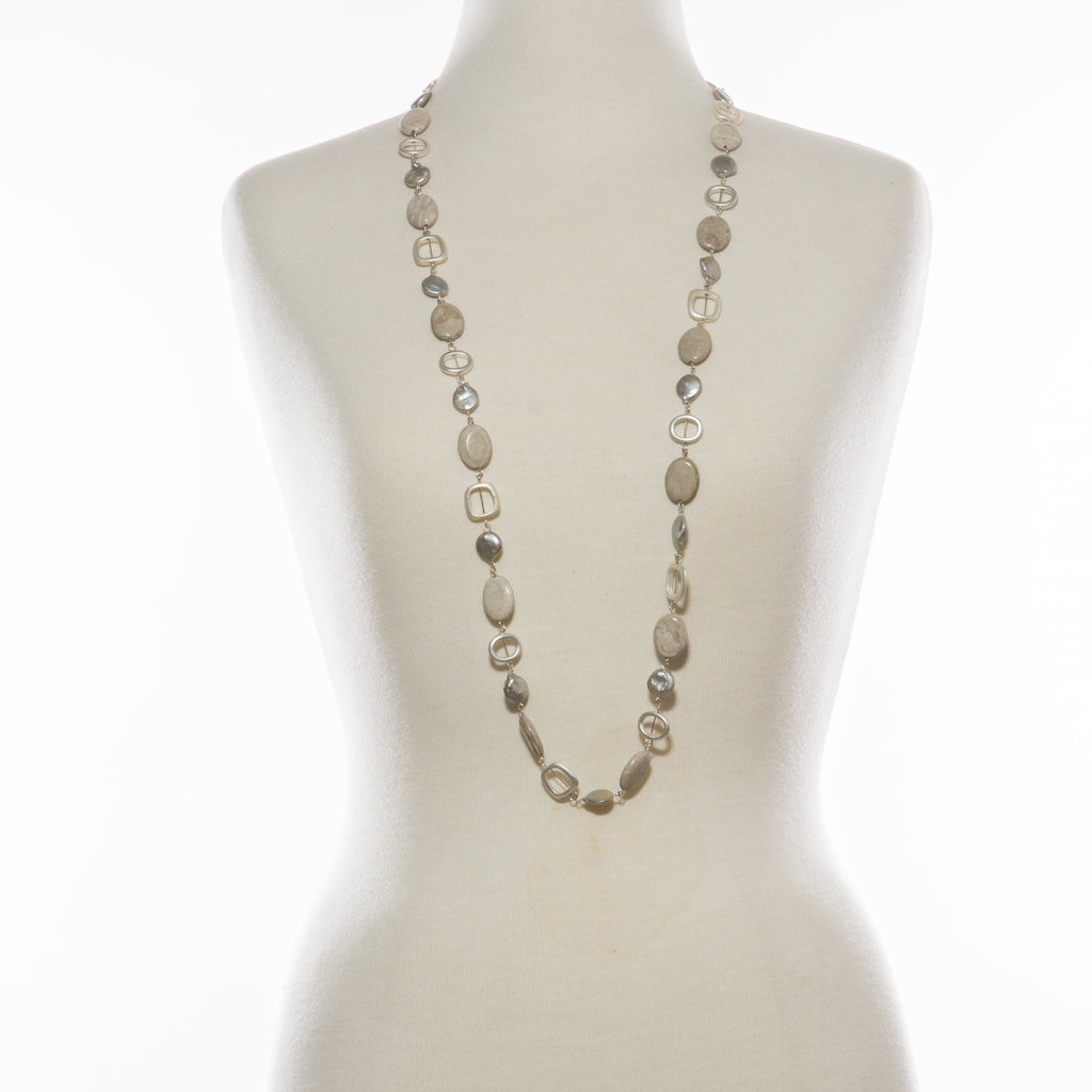 Jenny Cream Stone & Pearl Long Necklace | Stones that Rock