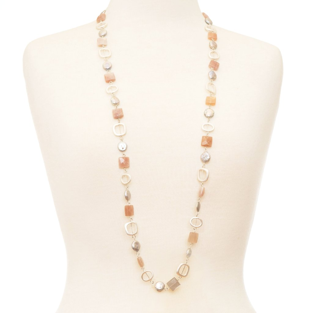 Jenny Orange Moonstone & Pearl Long Necklace | Stones that Rock