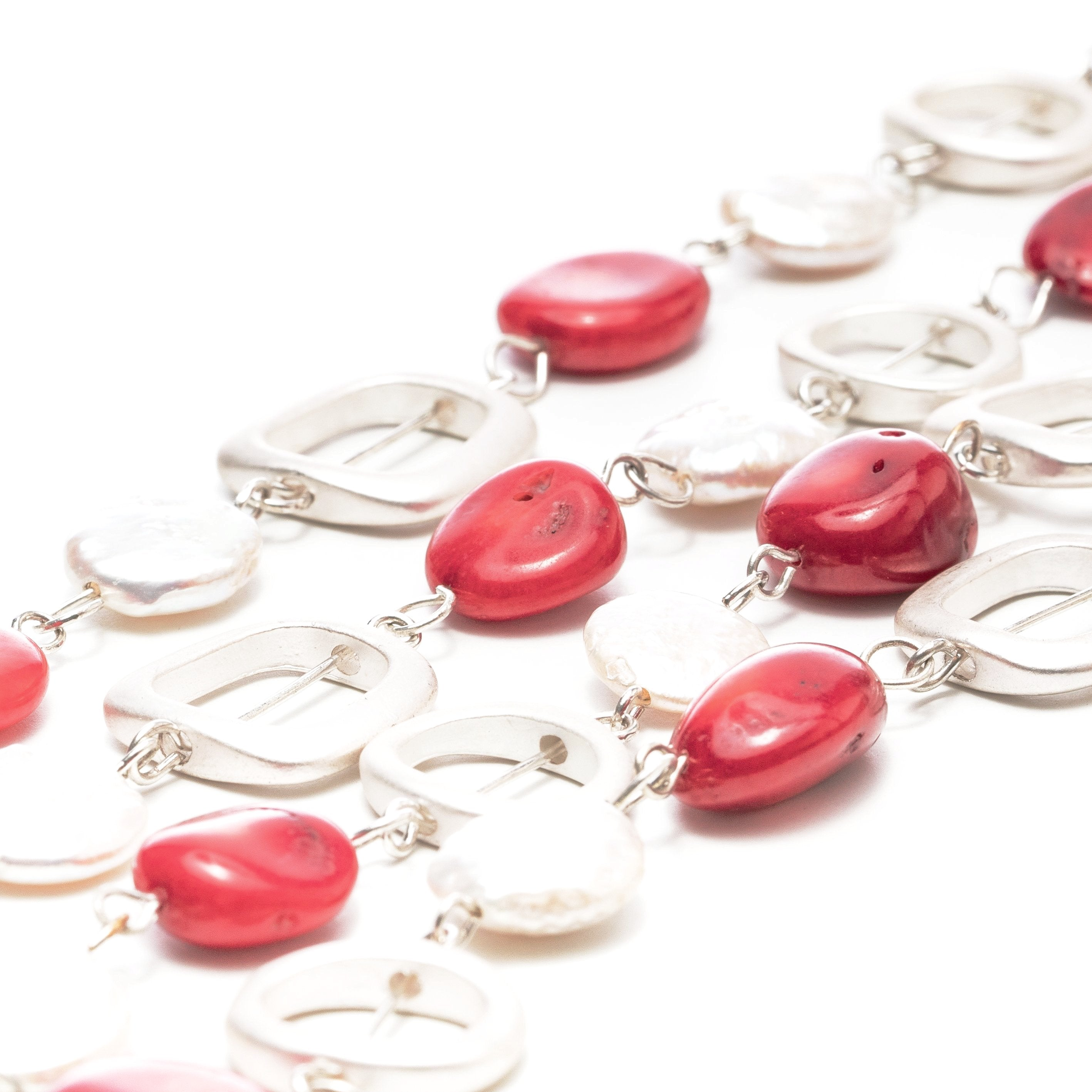 Jenny Red Stone & Pearl Long Necklace | Stones that Rock