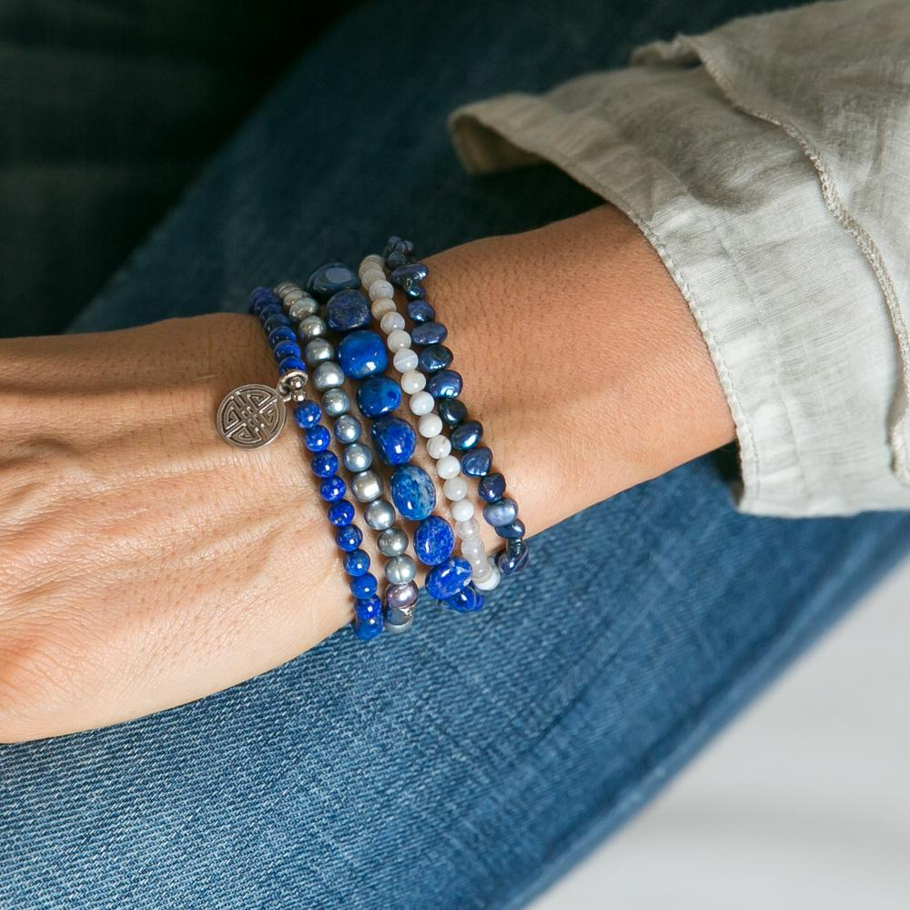 Maddie Lapis Stone and Pearl Bracelet Set | Stones that Rock